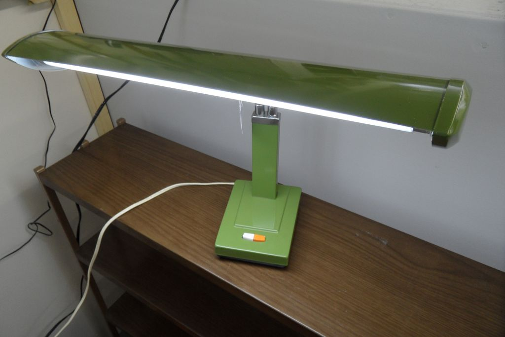 Vintage - Lamp - Olive Green - Adjustable Desk - 1950's