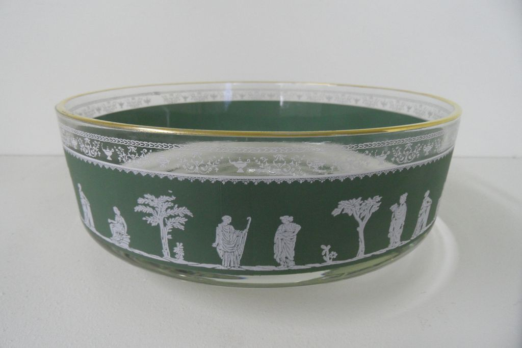 Vintage - Glass Bowl - Olive Green Transfer - Greek Motif