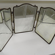 Vintage - Beveled Mirror - Vanity Shaving Mirror - Foldable