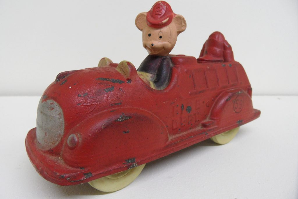Vintage - Toy Fire Truck - Sun Rubber Mickey and Donal Fire Truck