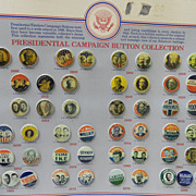 Vintage - Presidential Campaign Pins - Entire Mounted Set