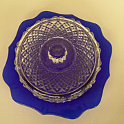 Vintage - Glass - Covered Cheese Dish
