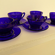 Vintage - Glass - Cobalt Blue Cups and Saucers - Set of Five (5)