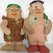 Vintage - Stuffed Dolls - Fred Flintstone and Barney Rubble