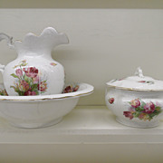 Antique - Porcelain Wash Set with Covered Chamber Pot