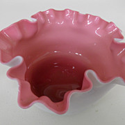 Vintage - Fenton - Pink and White Ruffled Bowl