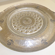 Vintage - Bienilum Aluminum Hammered Round Tray with Glass Insert