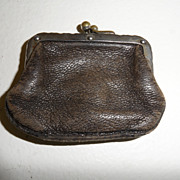 Vintage - Leather Coin Purse - Brass soldered clasp