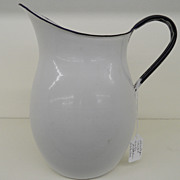 Vintage - Enameled Metal Water Pitcher