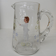 Antique - Glass - Mary Gregory Boy w/flowers