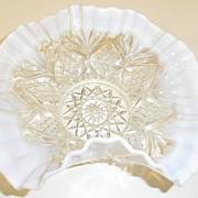 Vintage - Glass - Ruffled Opal Edge Bridal Basket