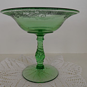 Vintage - Glass - Fostoria Vesper Green Compote
