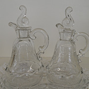 Vintage - Glass - Cruet Set with Tray
