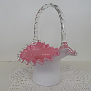 Vintage - Glass - Fenton - Pink Ruffle Basket