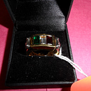 Vintage - Ring - 18k Gold over .925 Sterling - Mens - Italy