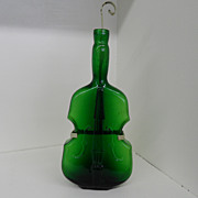 Vintage - Glass - Green hand-blown Violin with Hanger