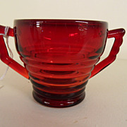 Vintage - Glass - Ruby Red Sugar Bowl
