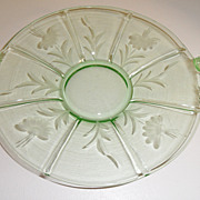 Vintage - Glass - Depression Glass - Green - Serving Dish - Fish Handles!