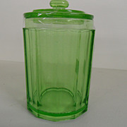 Vintage - Glass - Depression Glass - Green - Covered Jar