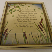 Vintage - Picture - Framed Poem to Father - 1940