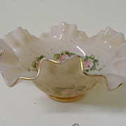 Vintage - Glass - Pink Frosted with Hand Painted Flowers