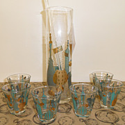 Vintage - Glass - Pitcher - Stirrer - 6 Glasses