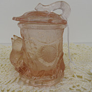 Vintage - Glass - Depression Glass- Pink - Jam Jar