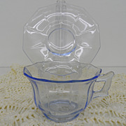 Vintage - Glass - Depression Glass - Cambridge - Cup and Saucer