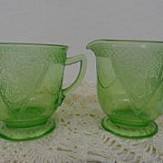 Vintage - Glass - Depression Glass - Green - Sugar and Creamer