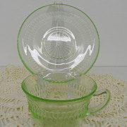Vintage - Glass - Depression Glass - Green - Cup and Saucer