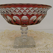 Vintage - Glass - Ruby Flash - Candy Dish