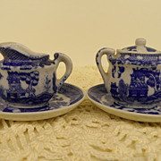 Vintage - Porcelain - Blue and White Creamer and Sugar