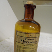 Vintage - Glass - Amber Bottle - Pharmacy