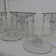 Vintage - Glass- Set of Two Candle Holders