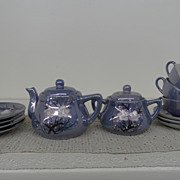 Vintage - Porcelain - Tea Set - Lustreware Blue with hand-painted Flowers