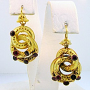 Antique Etruscan Revival 14kt Gold and Garnet Earrings
