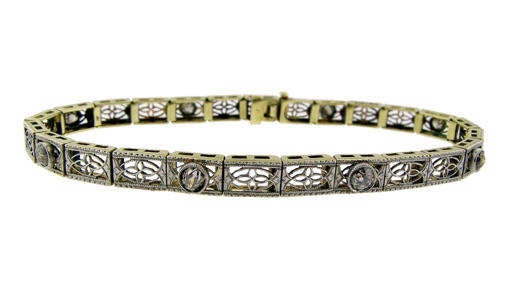 Art Deco Diamond and Filigree Bracelet