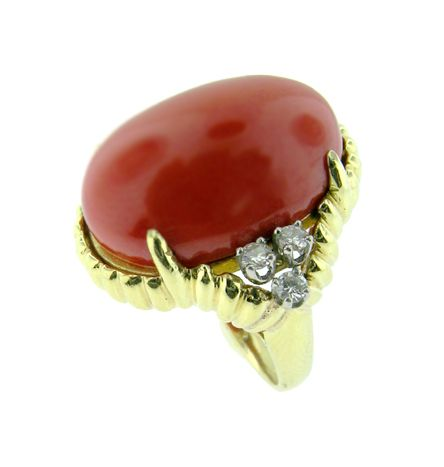 Retro Coral and Diamond Ring