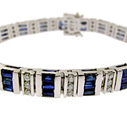 Classic Vintage Diamond and Sapphire Bracelet