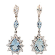 Elegant Vintage Aquamarine and Diamond Ear Pendants