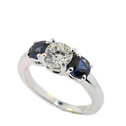 Classic Vintage Sapphire and Diamond Three Stone Ring