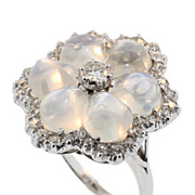 Superb Vintage Moonstone and Diamond Ring