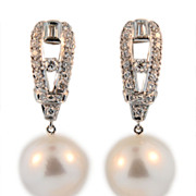 Vintage Platinum Diamond and Pearl Earrings