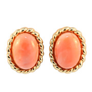 Vintage 14KT Yellow Gold Coral Earrings