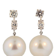 Vintage Diamond and South Sea Pearl Earrings