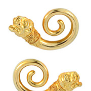 Ilias Lalaounis Lion's Head Spiral Gold Earrings