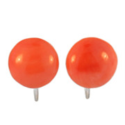 Vintage Screw Back Coral Earrings