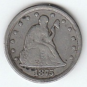 1875 S Liberty Seated Twenty Cent Piece VG SCARCE TYPE COIN
