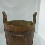 Handmade Wood Bucket with Iron Staves