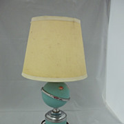 Old Turquoise Pottery Lamp with Pink Roses